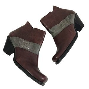 Fidji Comfort Wine Leather with Studs Ankle Boots